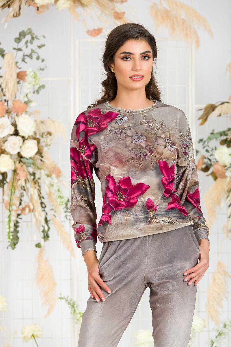 Bluza DAMES bej din catifea cu imprimeu floral