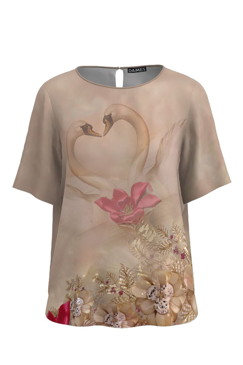 Bluza bej de vara cu maneca scurta si imprimeu floral CMD758