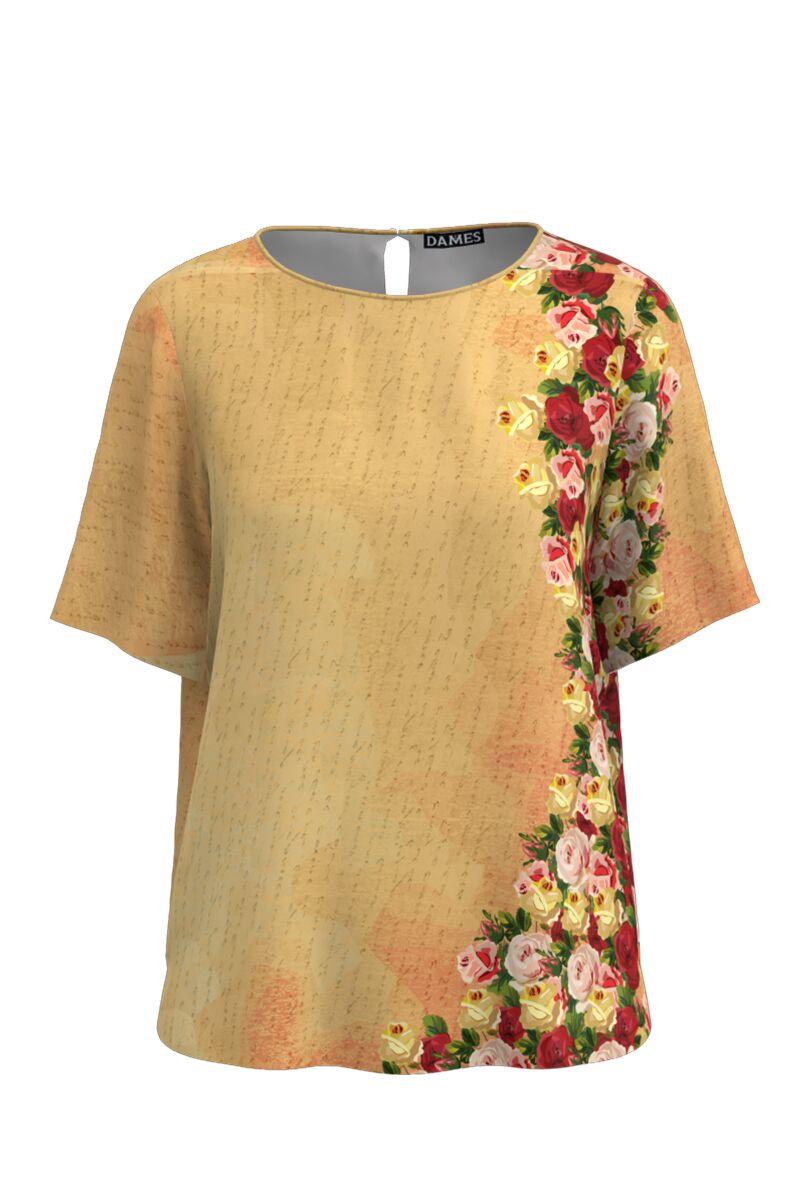 Bluza bej de vara cu maneca scurta si imprimeu trandafiri CMD762