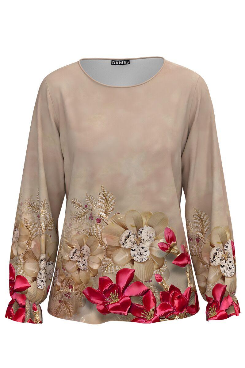 Bluză DAMES bej imprimata digital cu model floral.