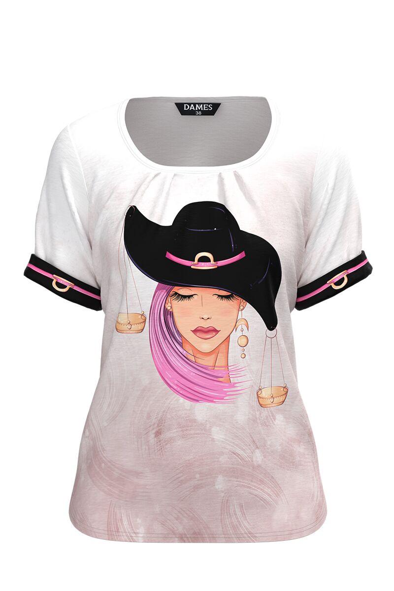 Bluza  DAMES damă tip tricou, cu mânecă scurtă și imprimeu Zodia Balanta