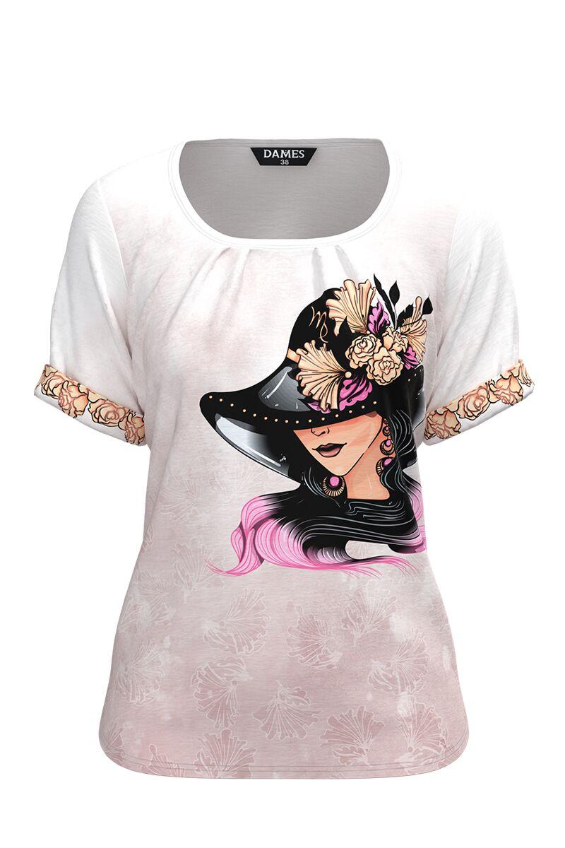 Bluza damă tip tricou, cu mânecă scurtă și imprimeu Zodia Fecioara CMD937