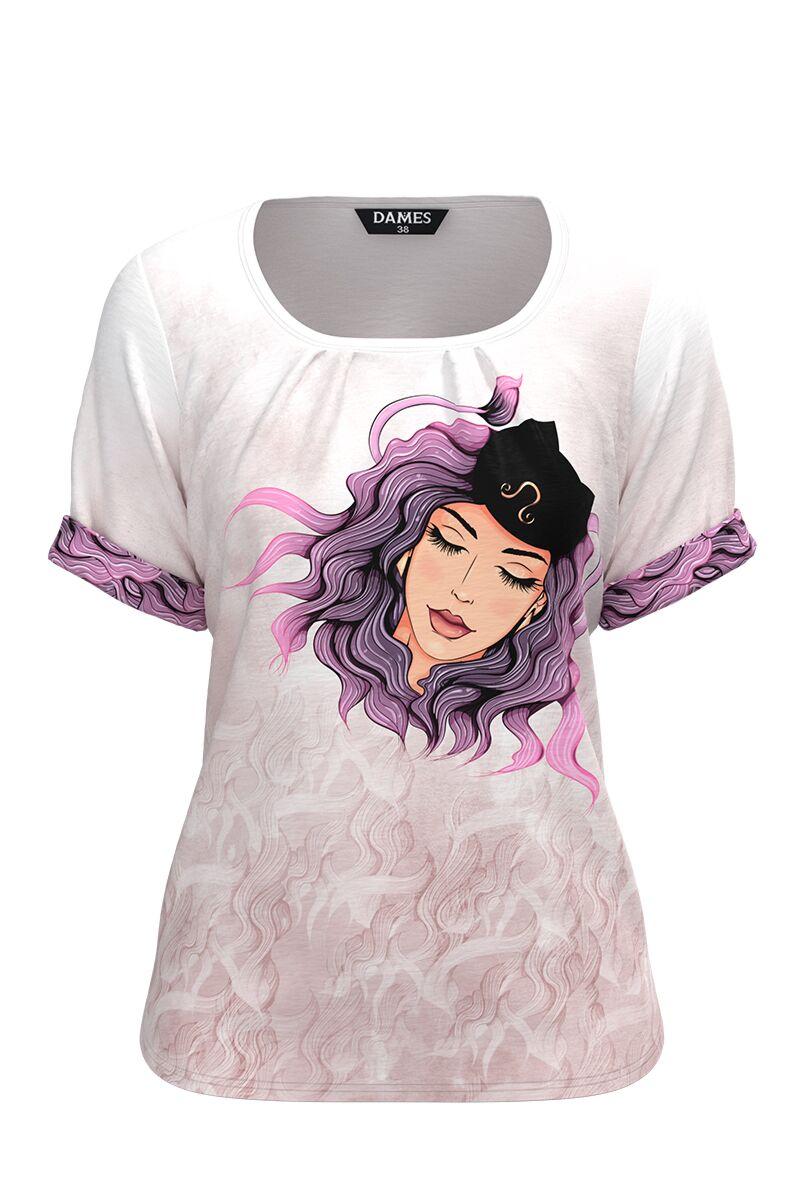 Bluza damă tip tricou, cu mânecă scurtă și imprimeu Zodia Leu CMD936