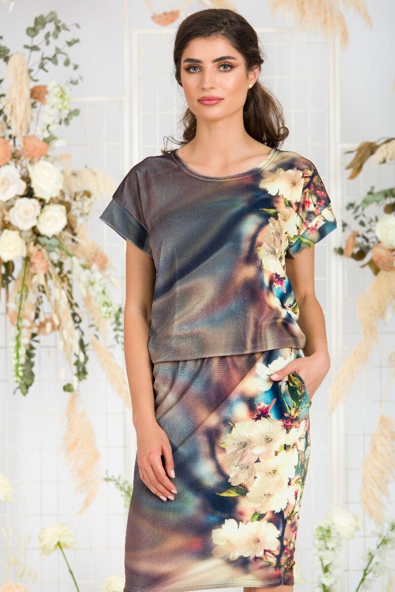 Bluza DAMES din catifea cu imprimeu floral si maneca scurta