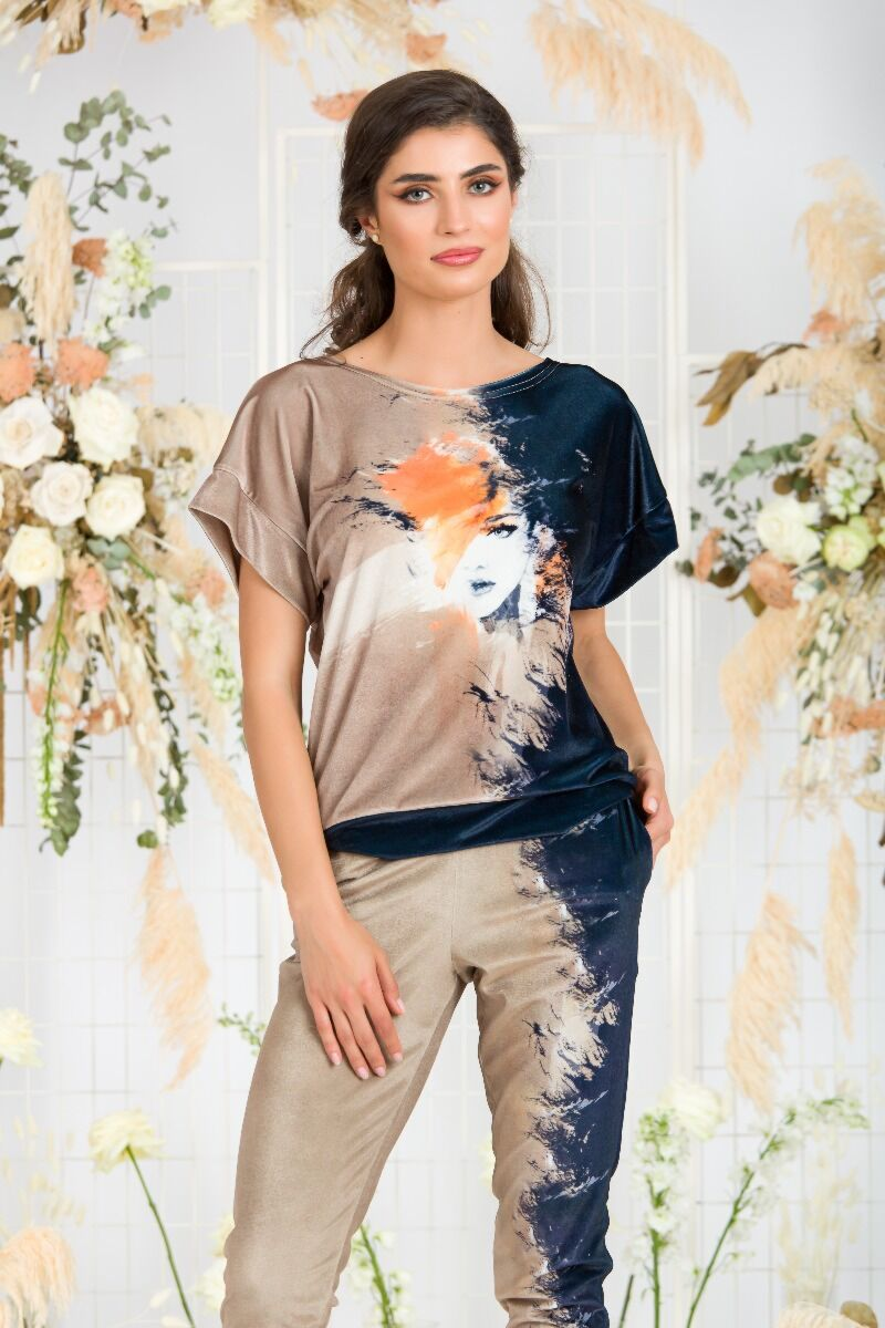 Bluza  DAMES din catifea in doua culori bej si bleumarin, cu detaliu fashion