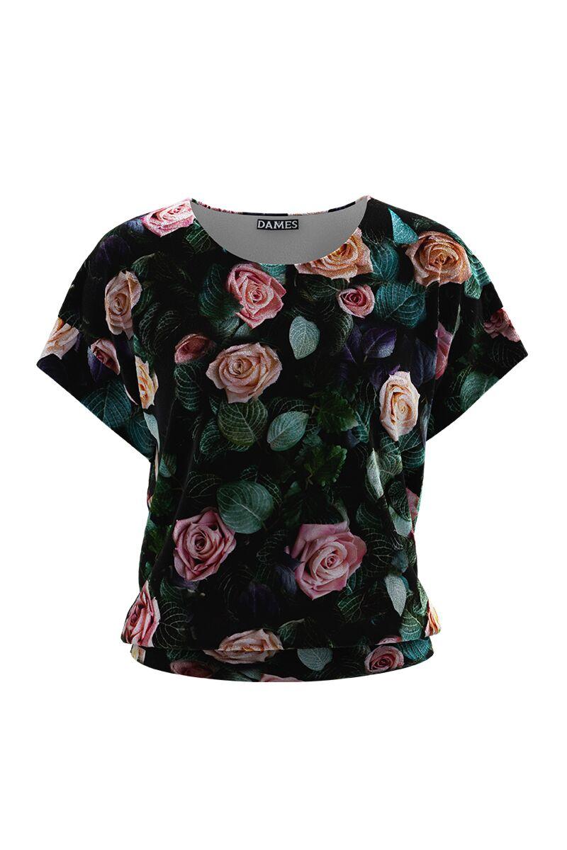 Bluza DAMES  din catifea cu imprimeu floral