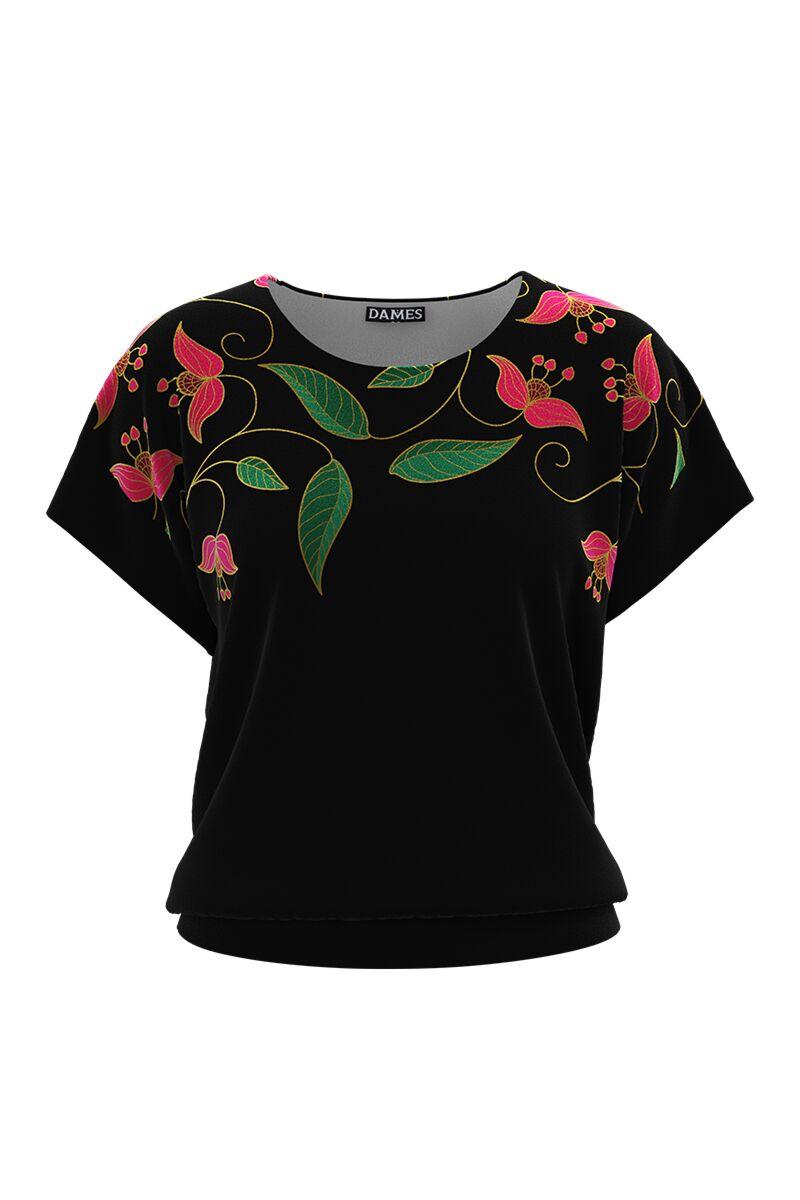 Bluza DAMES neagradin catifea cuimprimeu floral