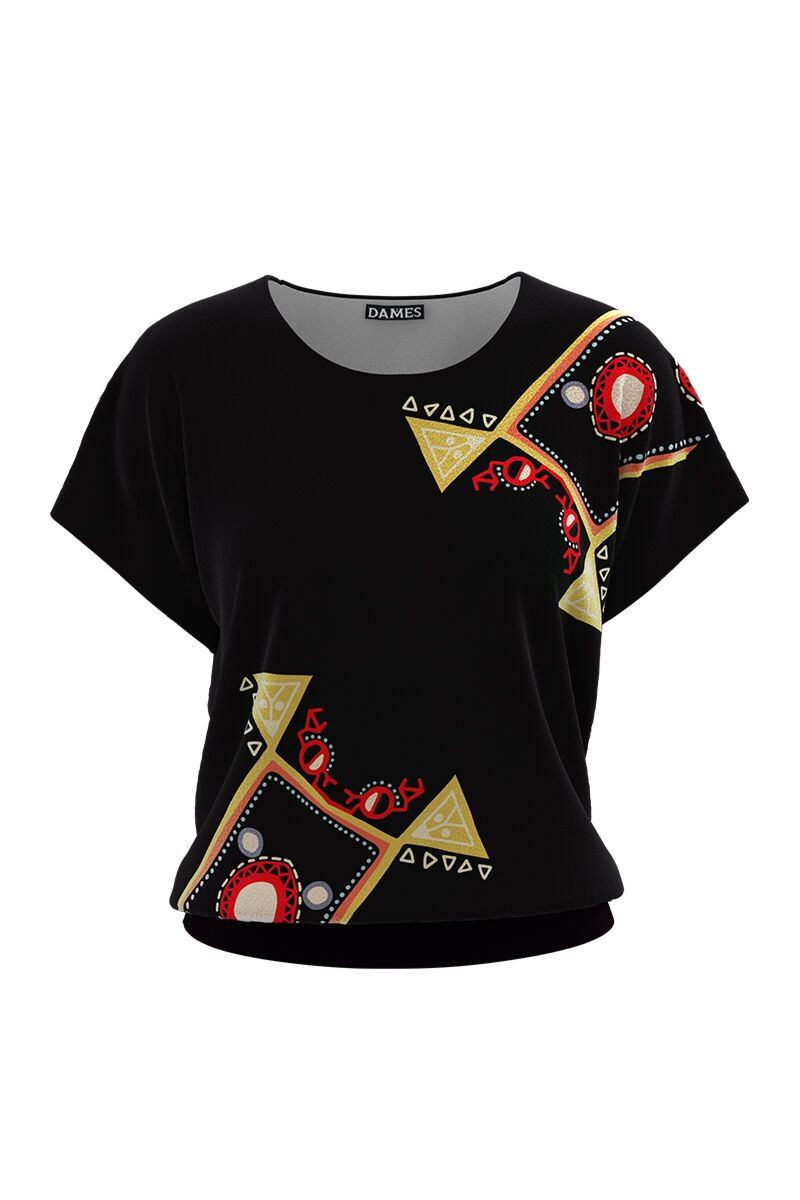 Bluza din catifea cu imprimeu multicolor si maneca scurta CMD686