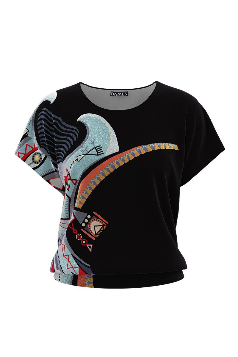 Bluza DAMES din catifea cu imprimeu multicolor