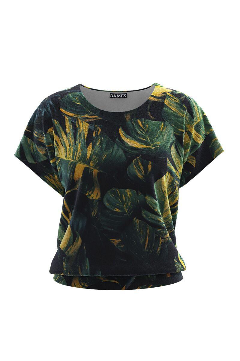 Bluza DAMES din catifea cu frunze imprimate