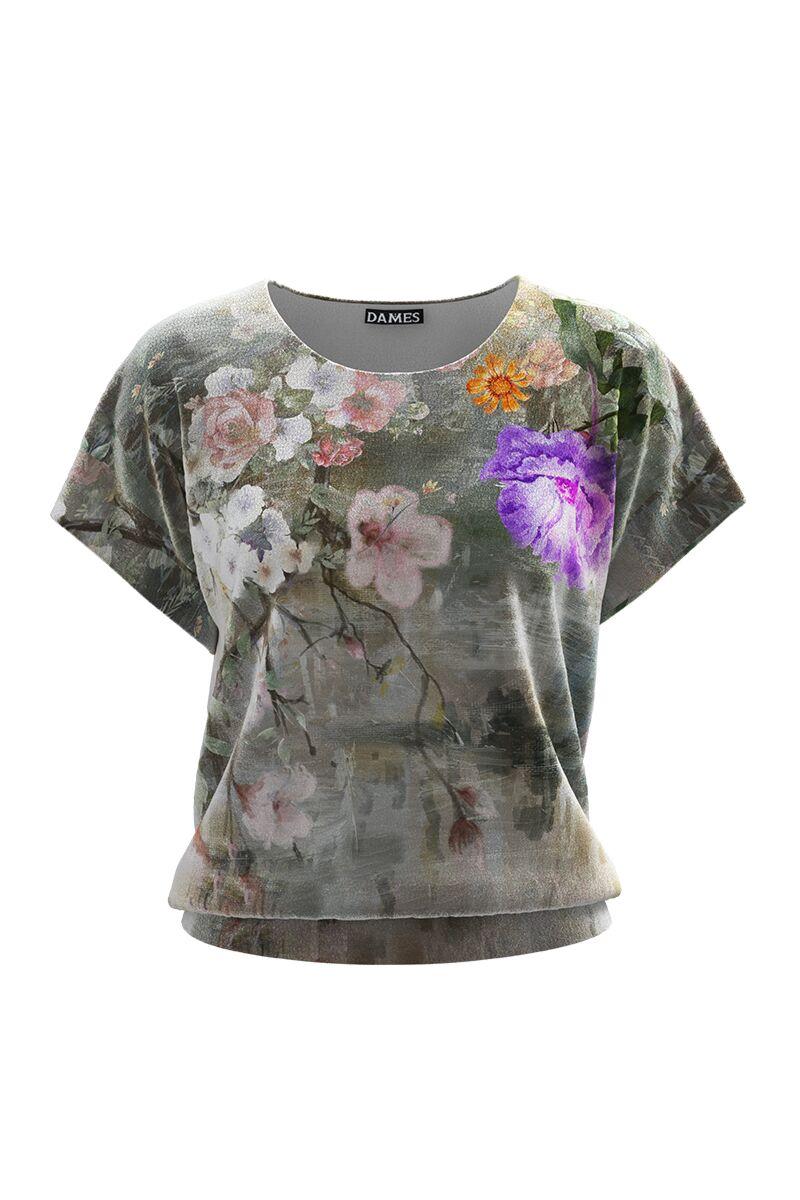 Bluza DAMES din catifea gri cu imprimeu floral