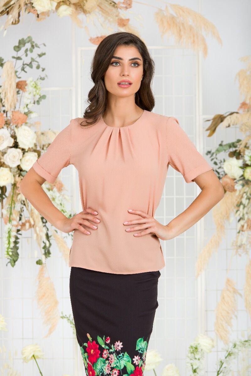 Bluza  DAMES eleganta roz pudra cu plii