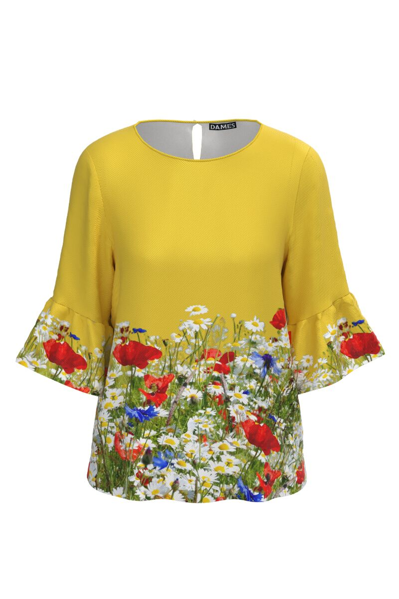 Bluză DAMES galbena imprimata digital cu flori de camp