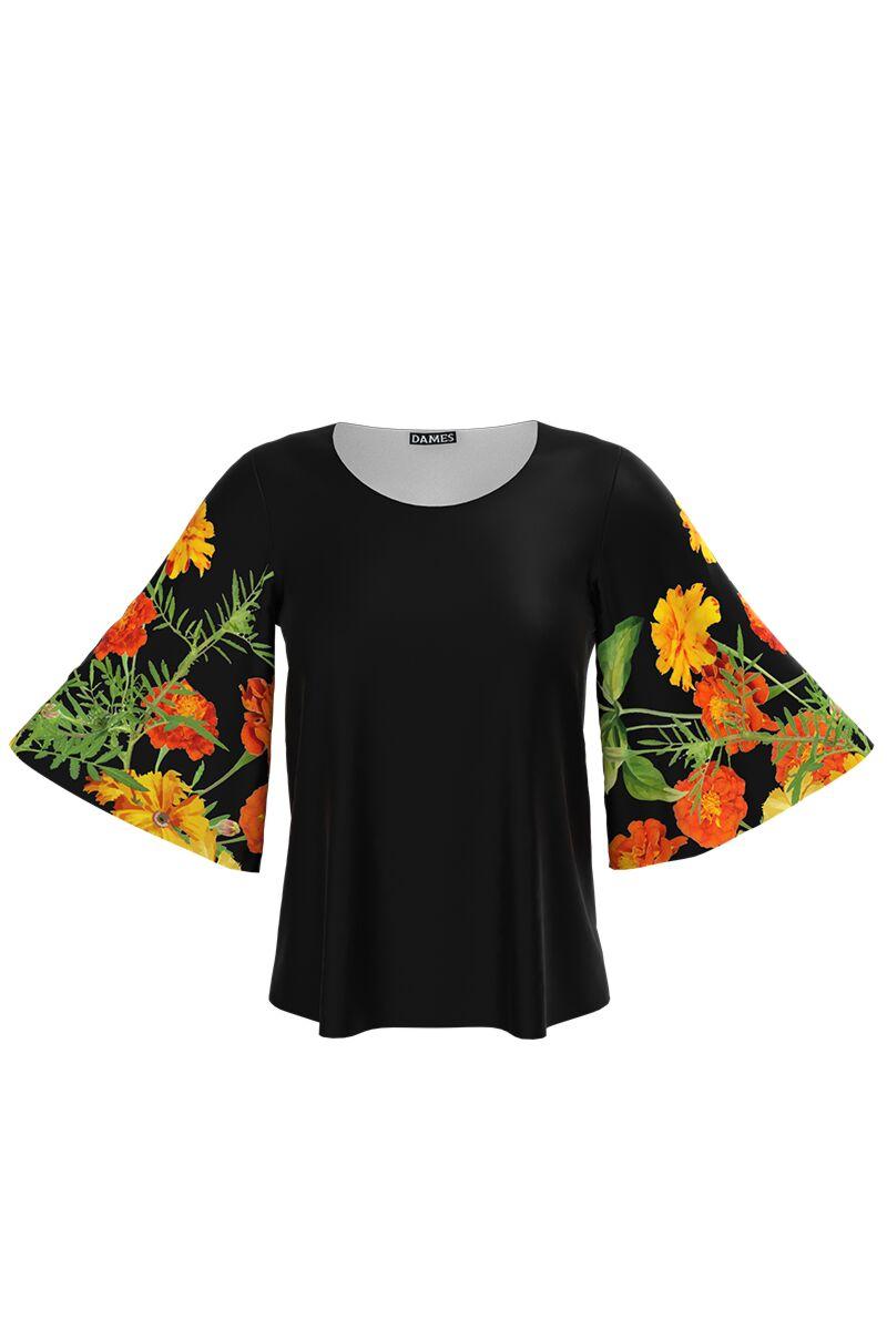 Bluză  DAMES neagracu maneciimprimate cu model floral