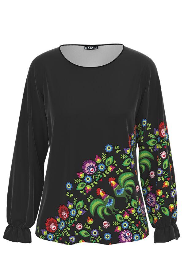 Bluza neagra cu maneca lunga imprimata Floral CMD1360