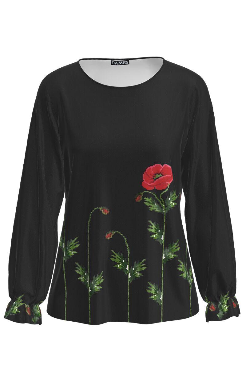 Bluza neagra cu maneca lunga si imprimeu maci CMD1229