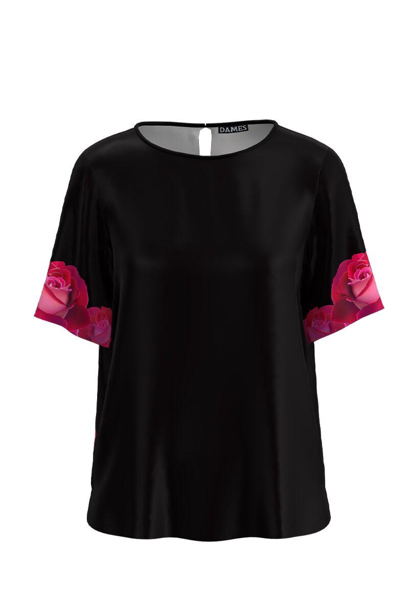 Bluza neagra cu maneca scurta si imprimeu trandafiri CMD1176
