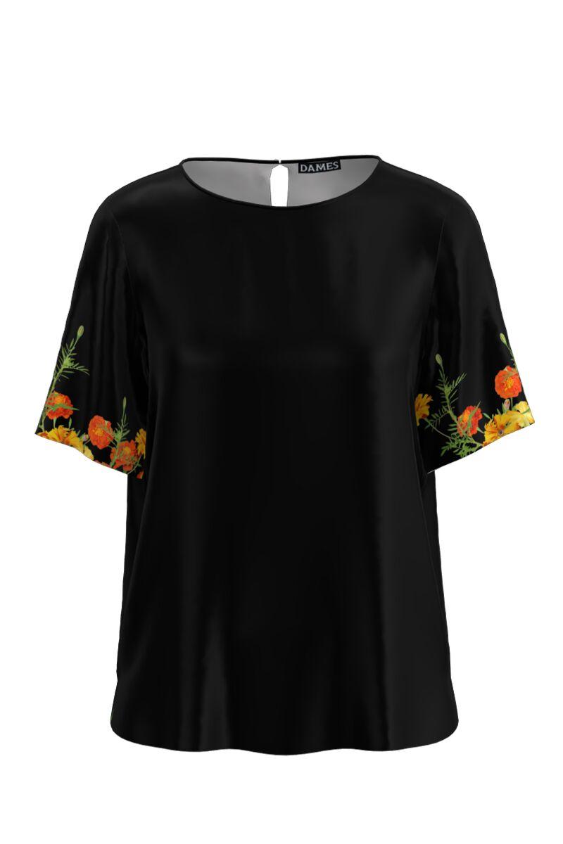 Bluza neagra de vara cu maneca scurta si imprimeu floral CMD761