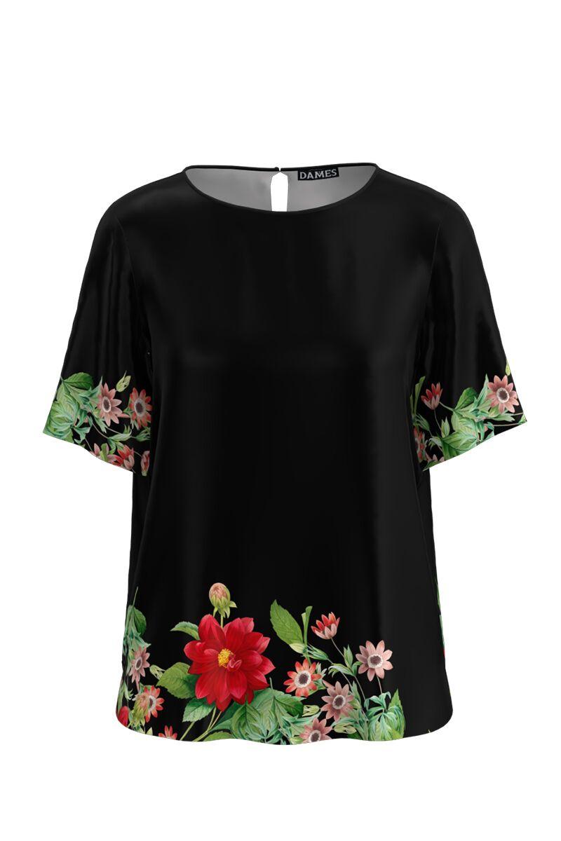 Bluza neagra de vara cu maneca scurta si imprimeu floral CMD764