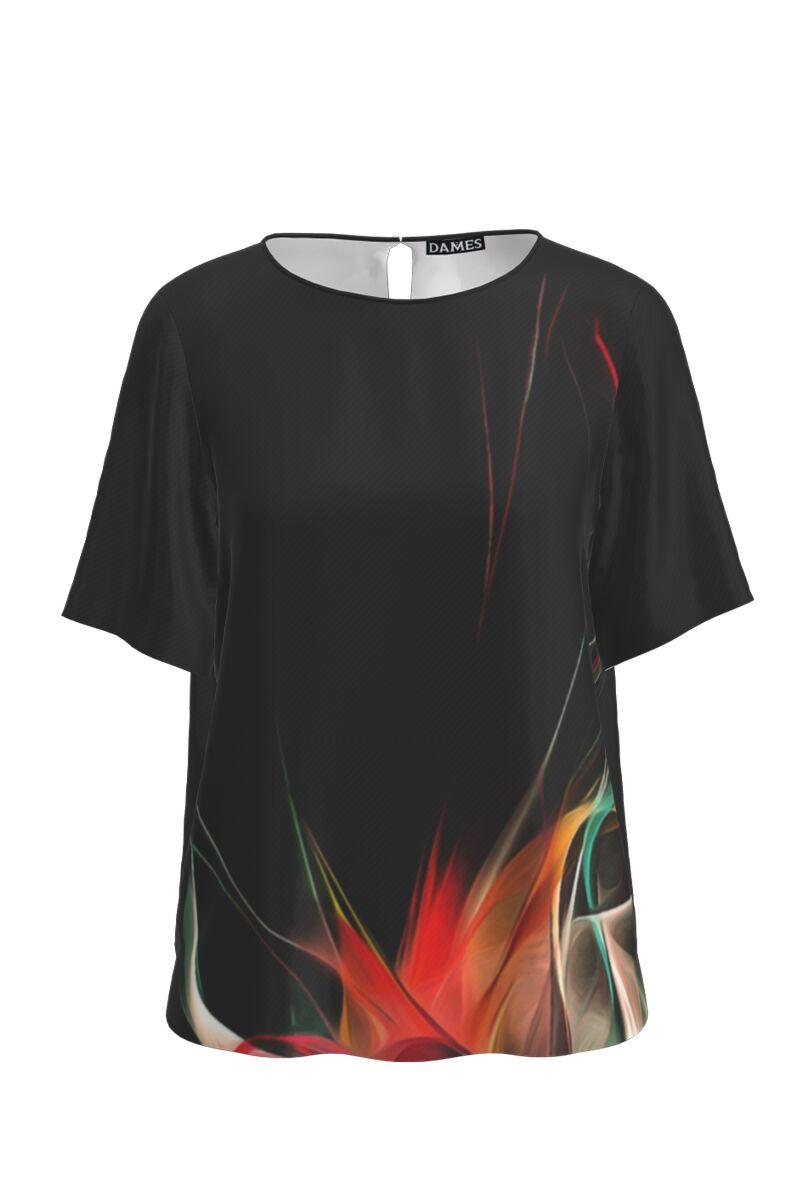 Bluza neagra de vara cu maneca scurta si imprimeu floral CMD767