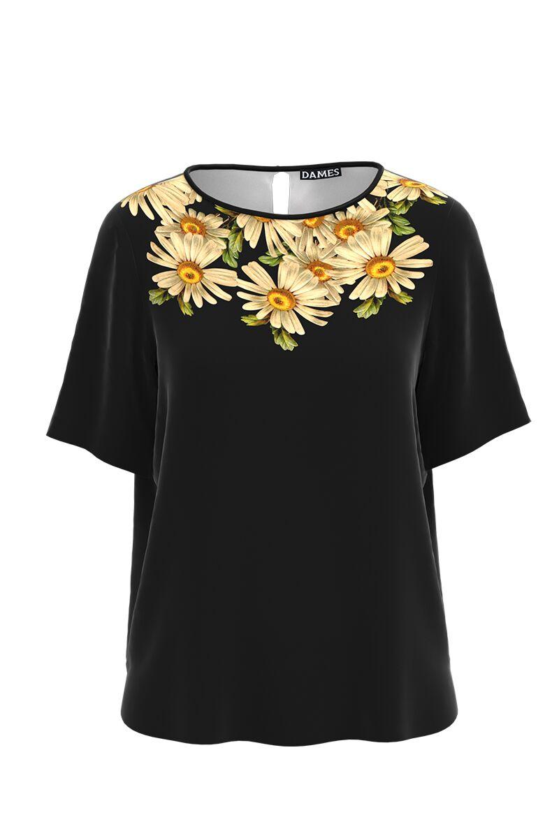 Bluza neagra de vara cu maneca scurta si imprimeu Margarete CMD1001