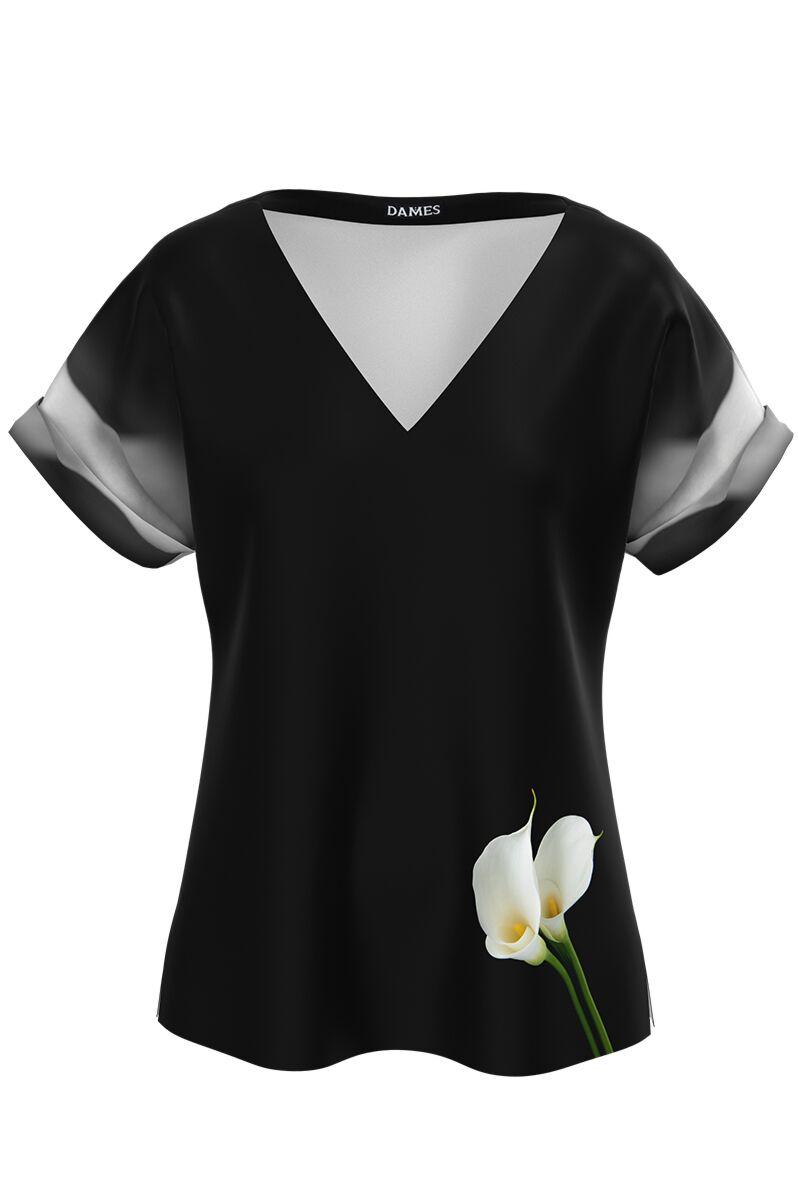 bluza DAMES neagra imprimata floral Cale