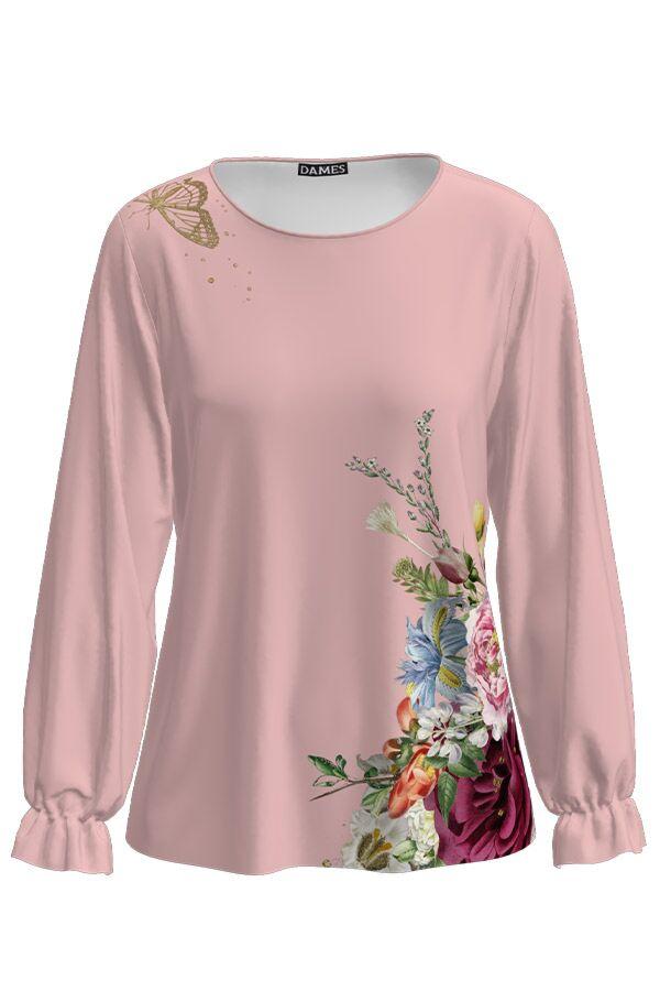 Bluza DAMES roz cu maneca lunga