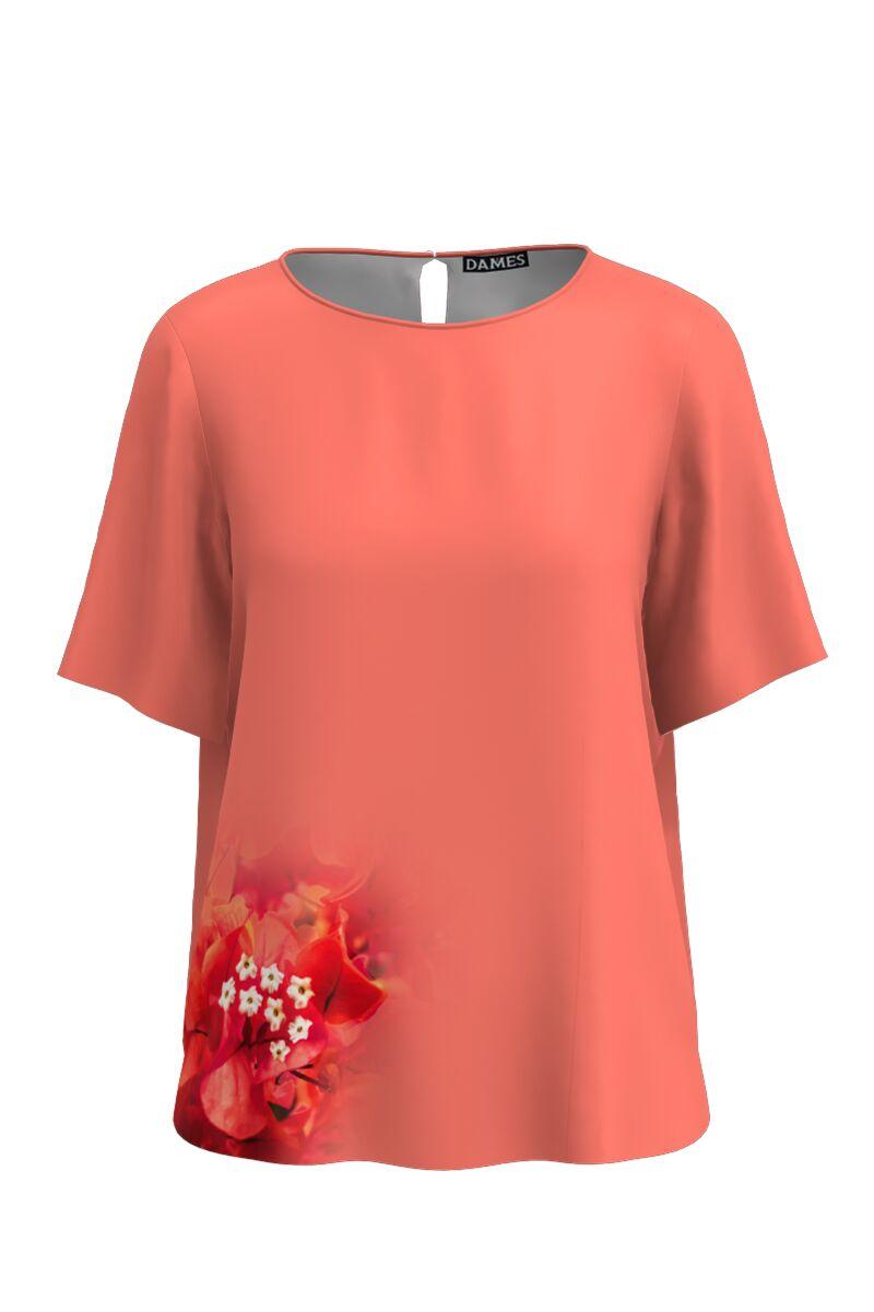 Bluza DAMES roz de vara cu maneca scurta si imprimeu floral CMD759
