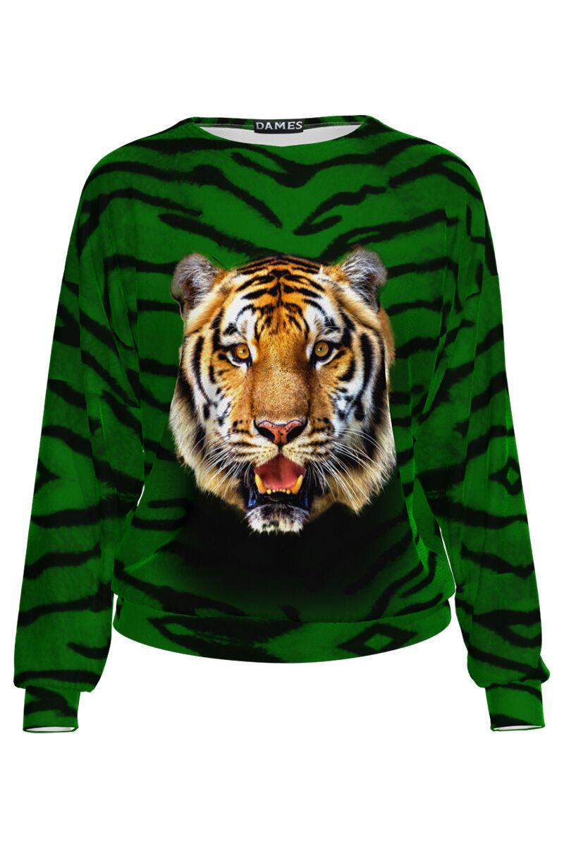 Bluza  DAMES verde animal print tip hanorac din catifea