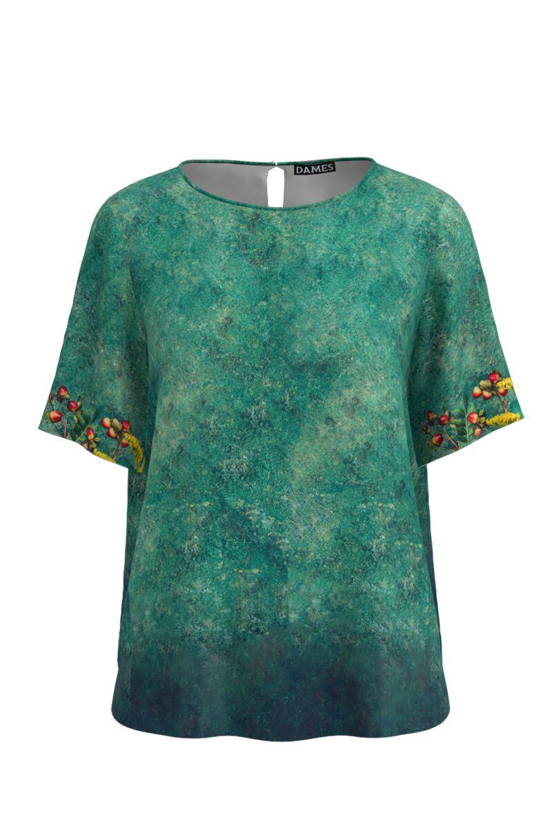 Bluza verde de vara cu maneca scurta si imprimeu floral CMD763