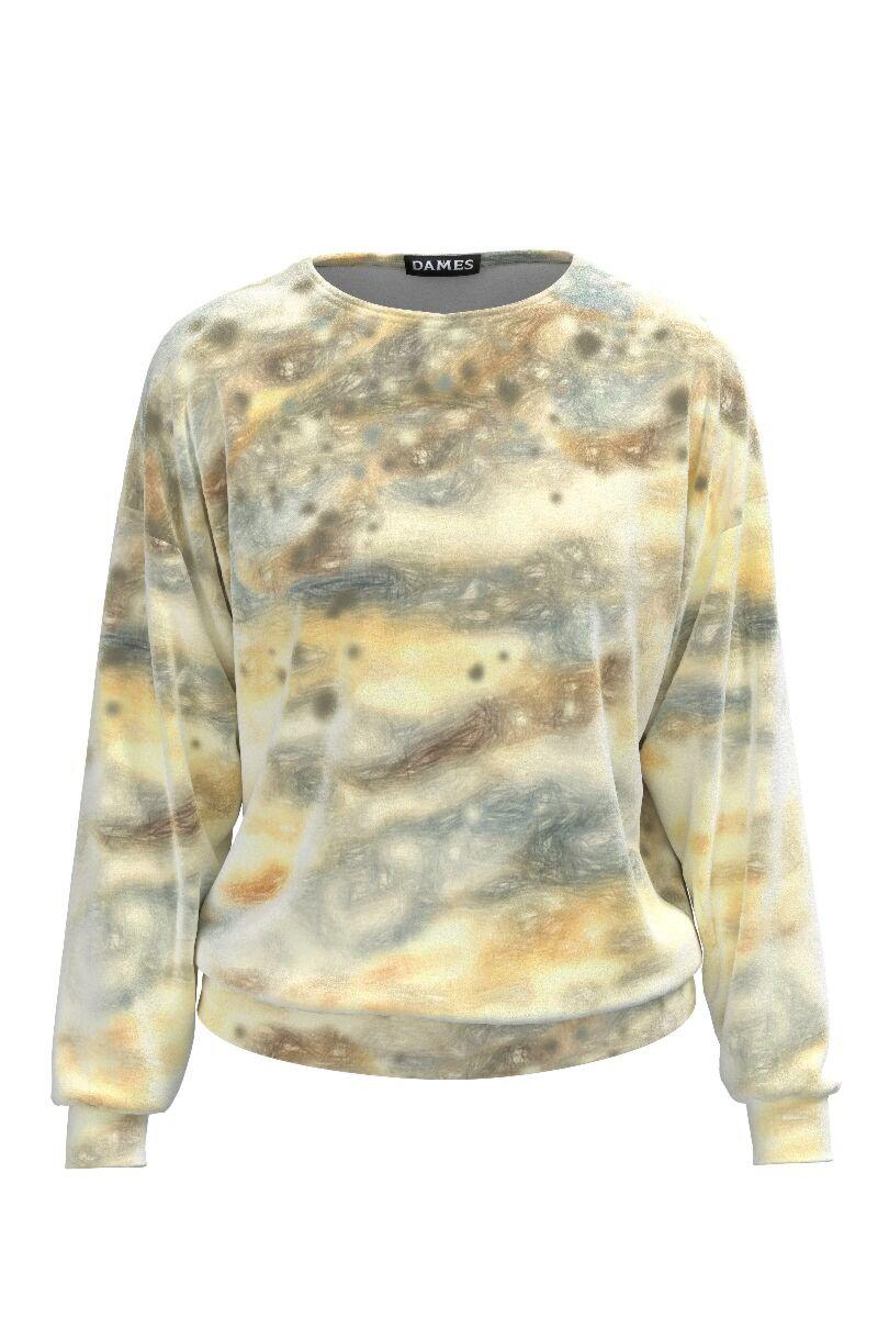 Bluza DAMES din catifea, are o cromatica degrade in tonuri de galben si gri