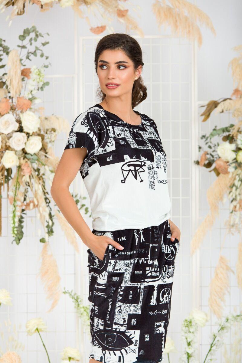 Bluza DAMES din catifea in doua culori alb- negru