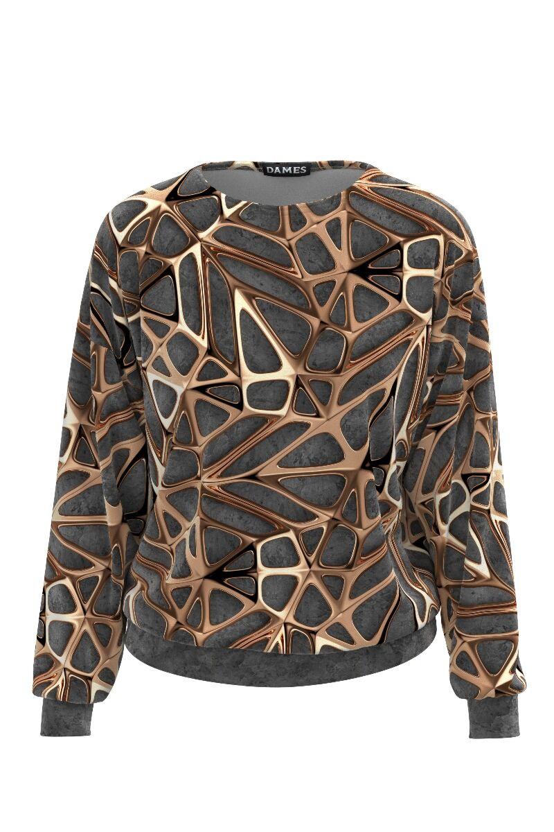 Bluza DAMES gri cu accente metalizate imprimate