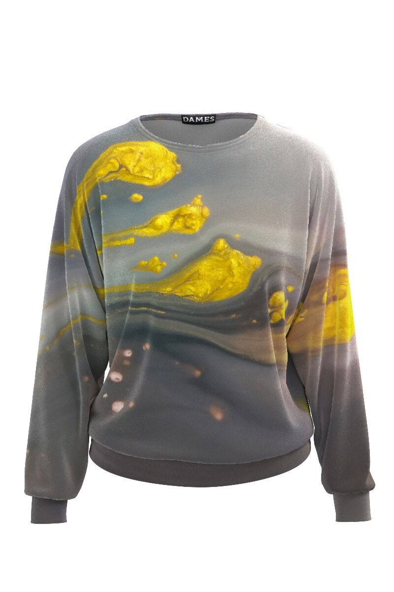 bluza DAMES sport gri cu imprimeu abstract galben