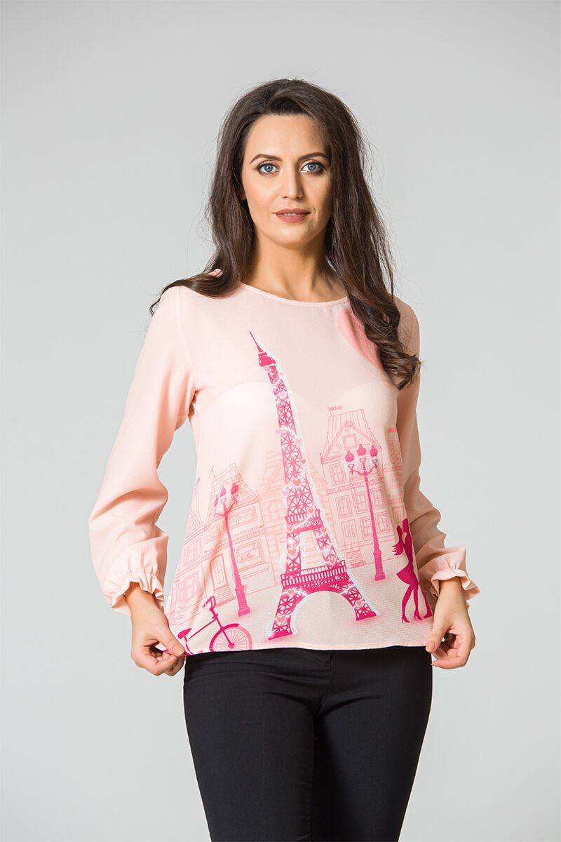 Bluză  DAMES roz romantică cu imprimeu digital Paris şi Turnul Eiffel