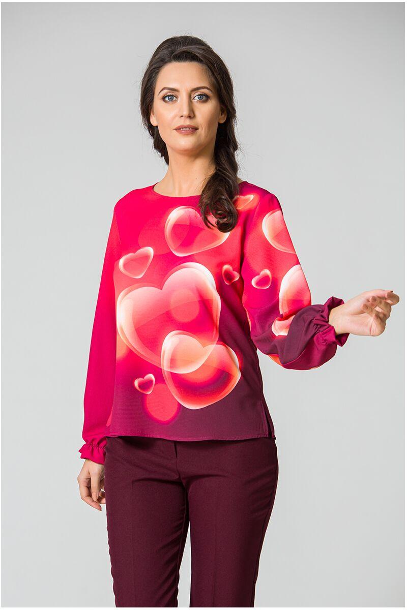 Bluză DAMES roşie, cu inimioare 3D imprimate digital,