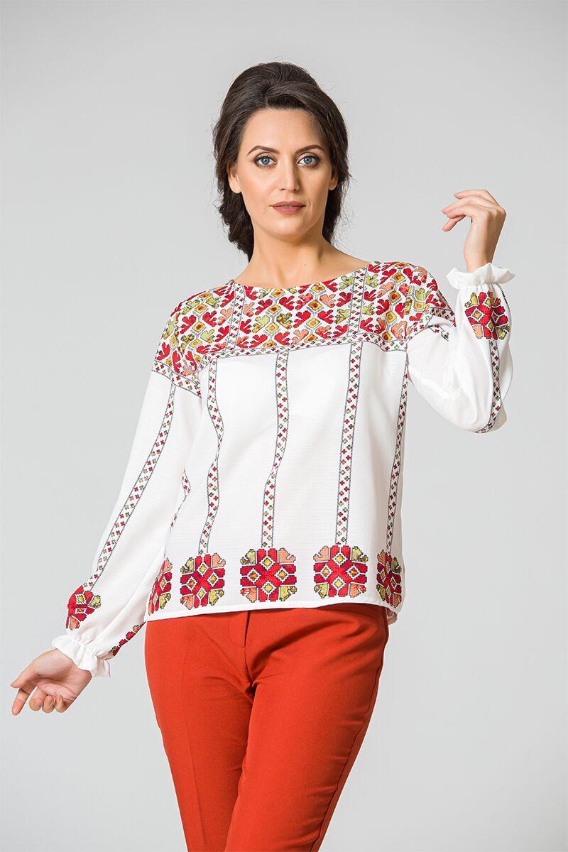 Bluza DAMES  alba tip ie cu imprimeu traditional Bucovina