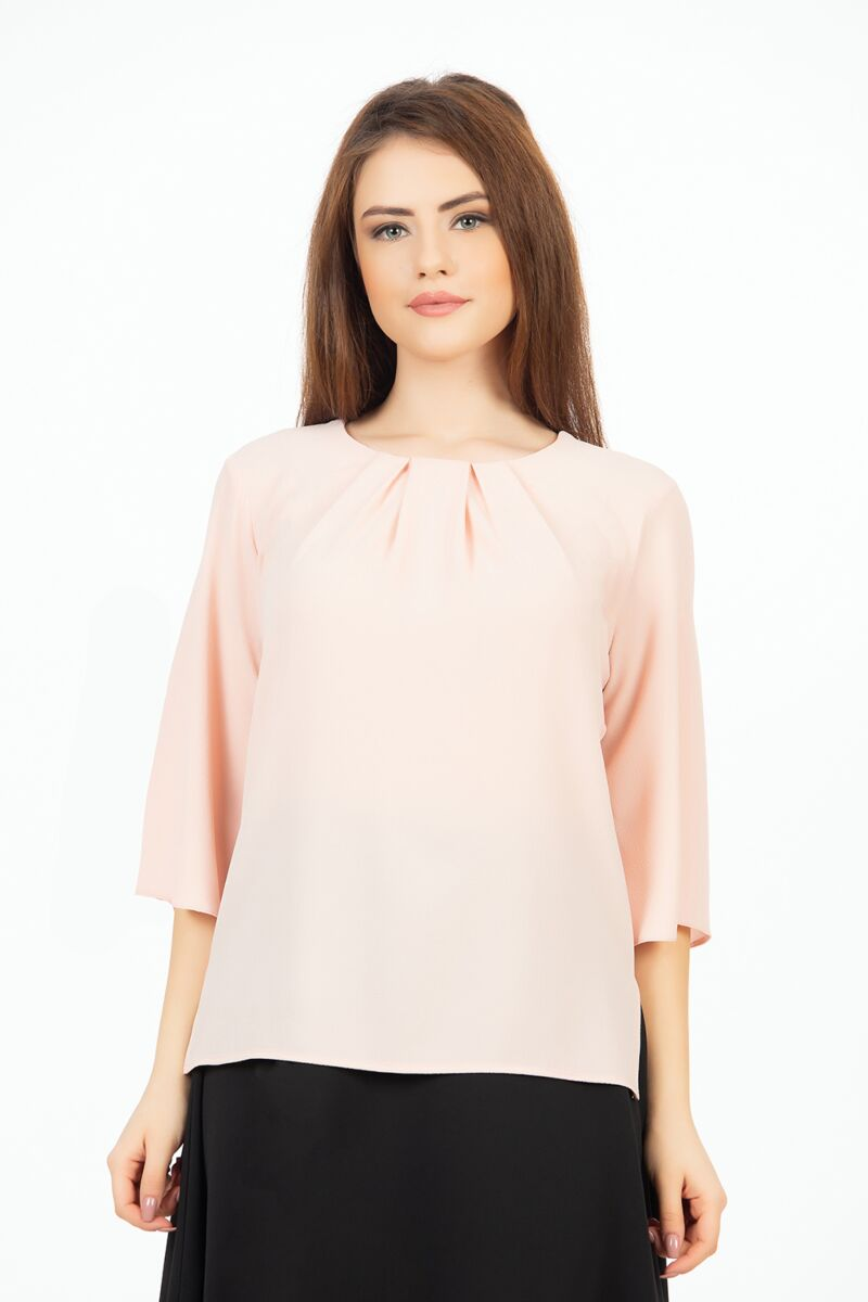 Bluza eleganta ,roz cu plii,M1085R