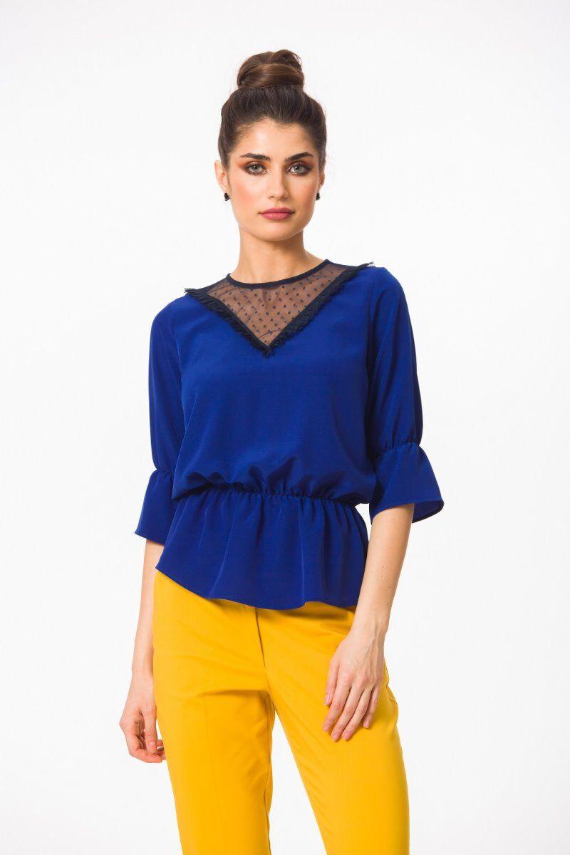 Bluza eleganta PREMIUM Safir cu elastic si tulle DP002B