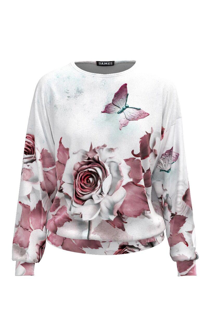 Bluza de treining DAMES cu print floral din catifea