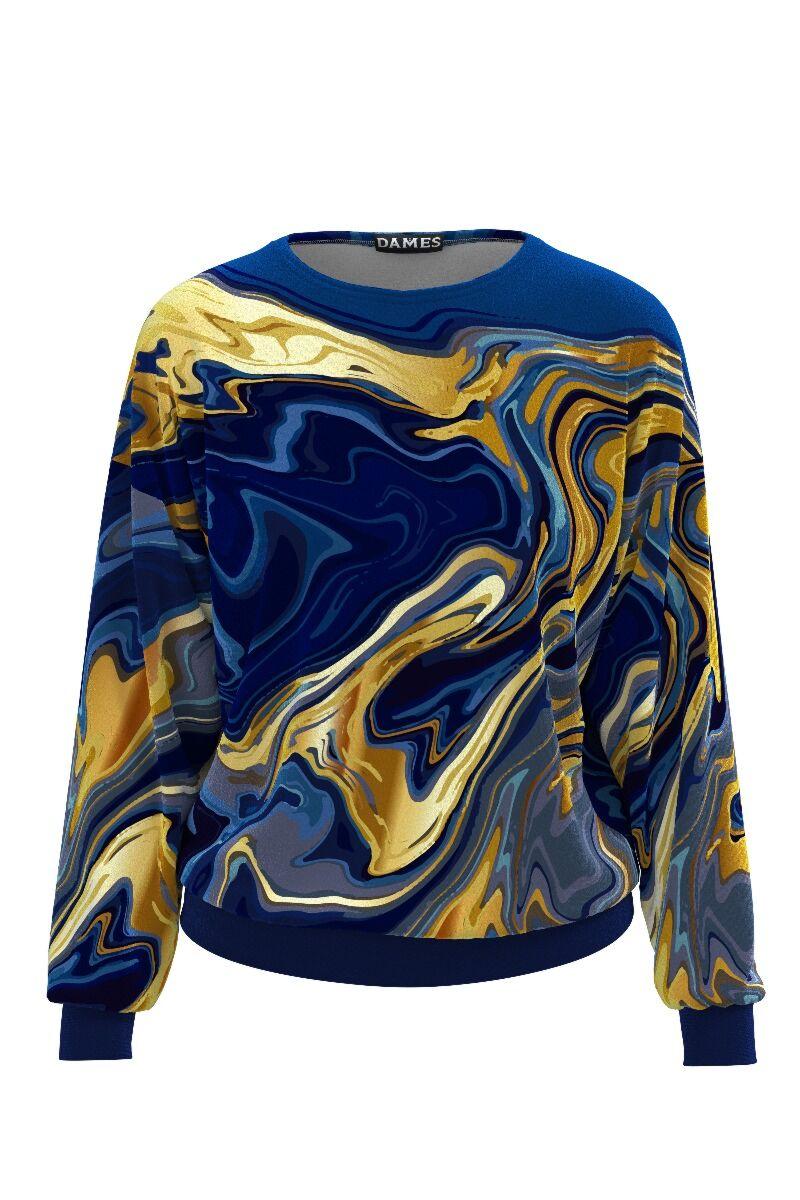 bluza de treining DAMES albastra cu imprimeu auriu din catifea