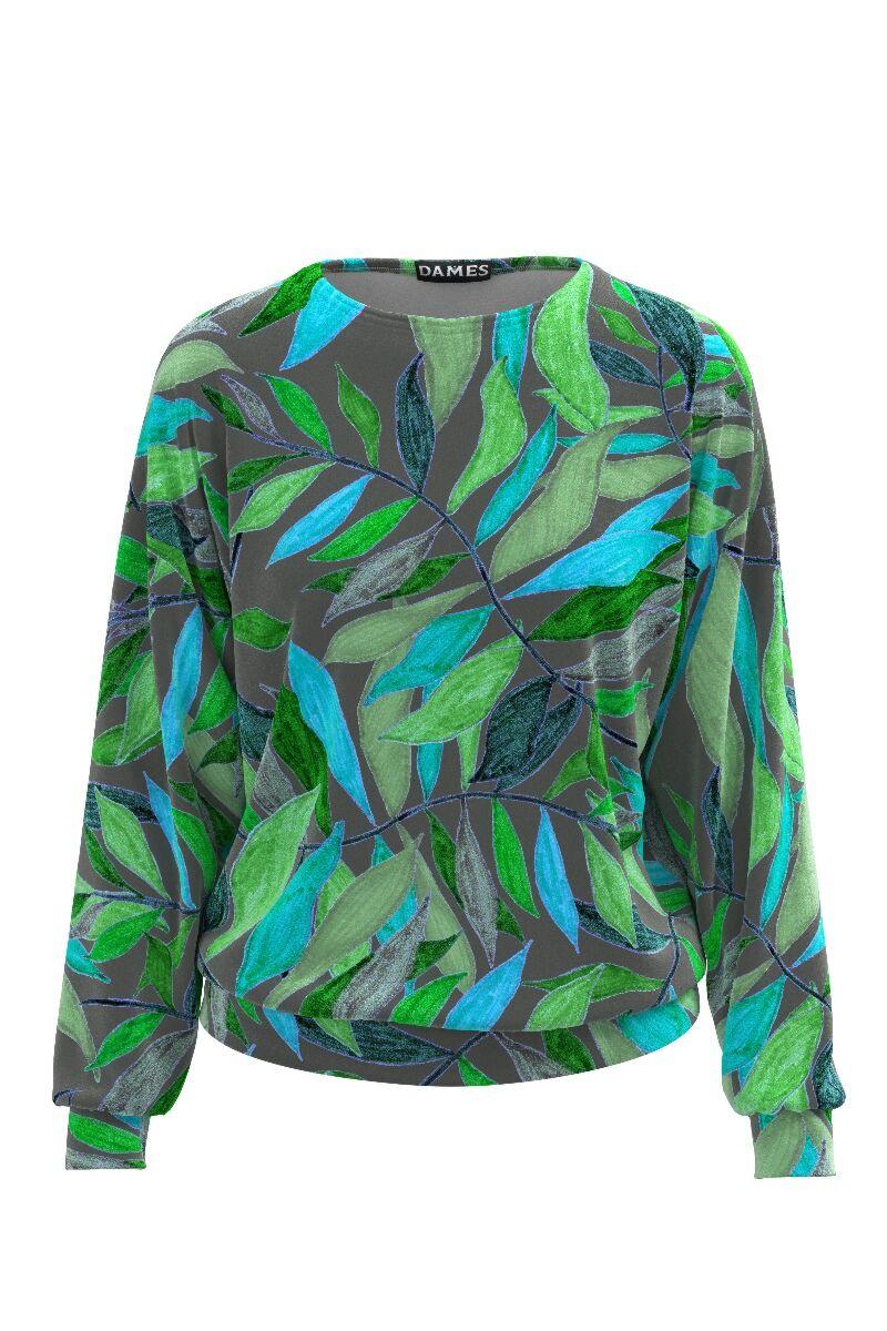 bluza sport DAMES gri cu imprimeu frunze