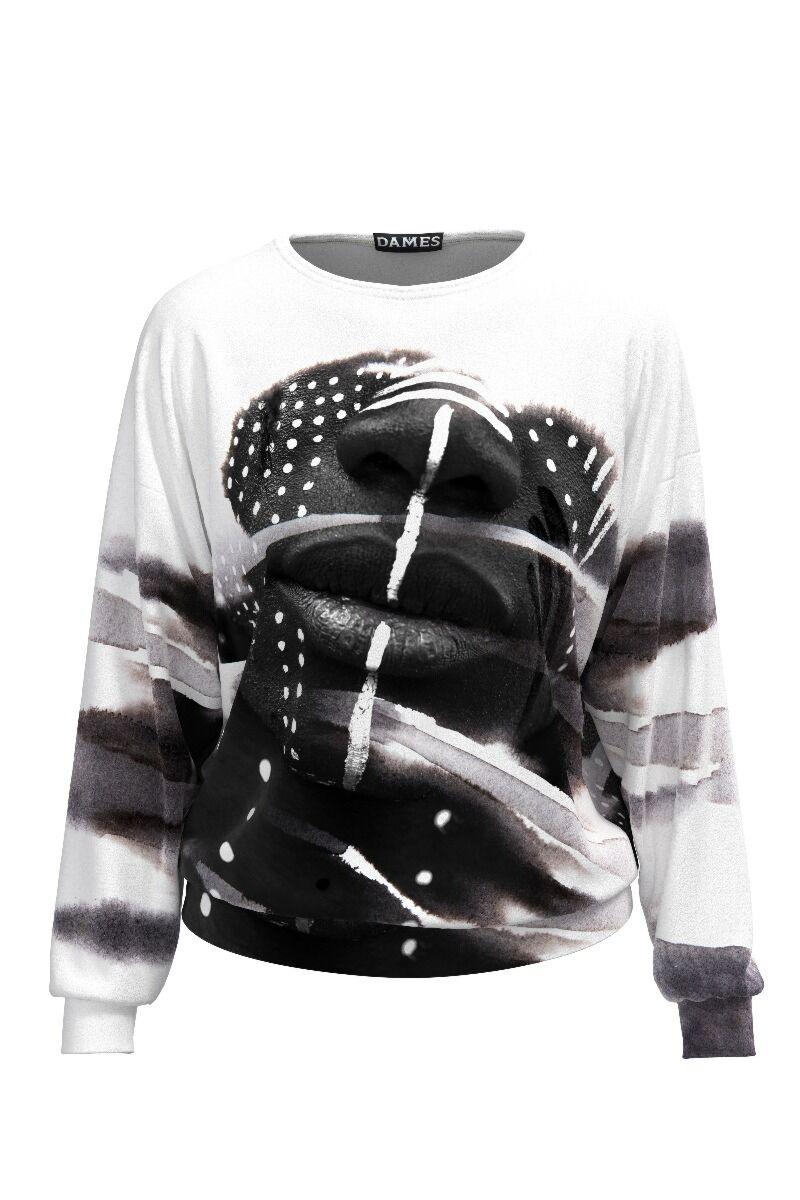 bluza de treining DAMES din catifea cu imprimeu alb negru