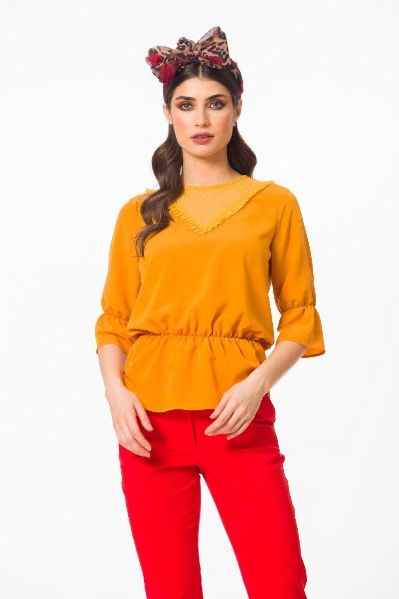 Bluza eleganta PREMIUM Topaz cu elastic si tulle DP002