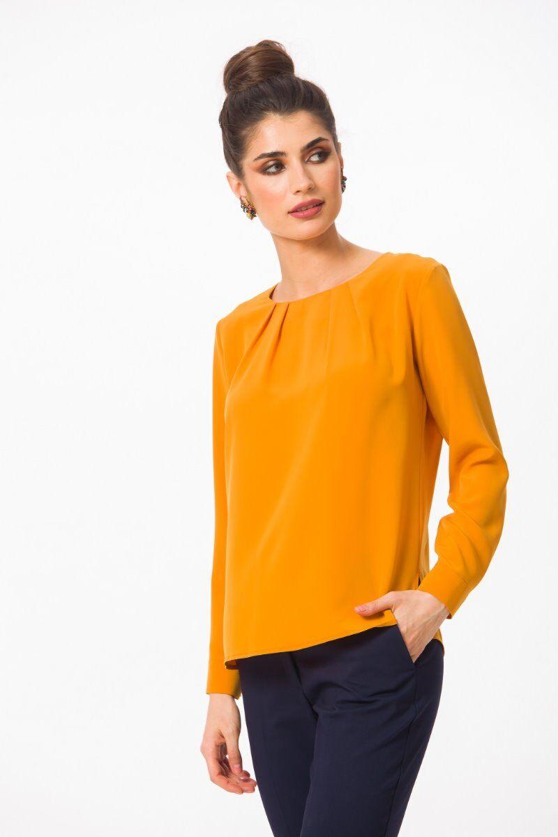Bluza eleganta PREMIUM Topaz cu plii si mansete DP004