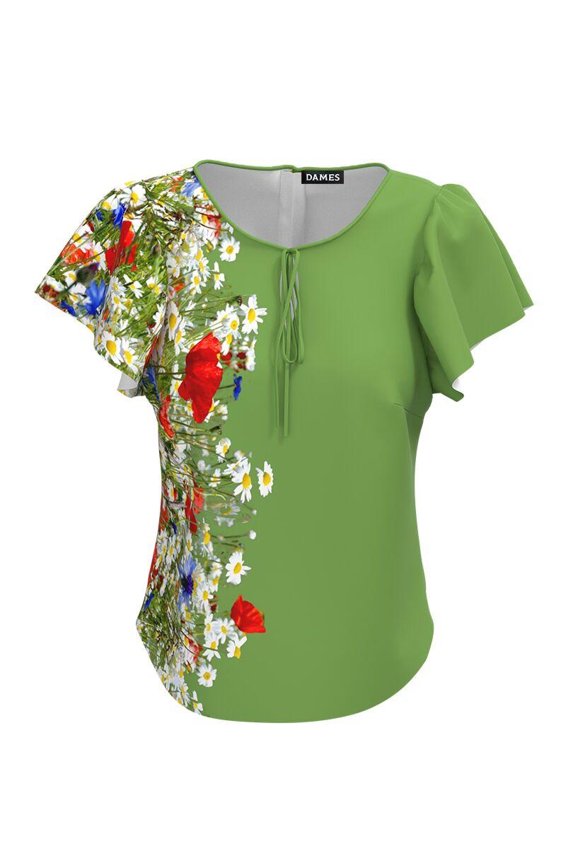 Bluza verde cu imprimeu Flori de camp CMD577