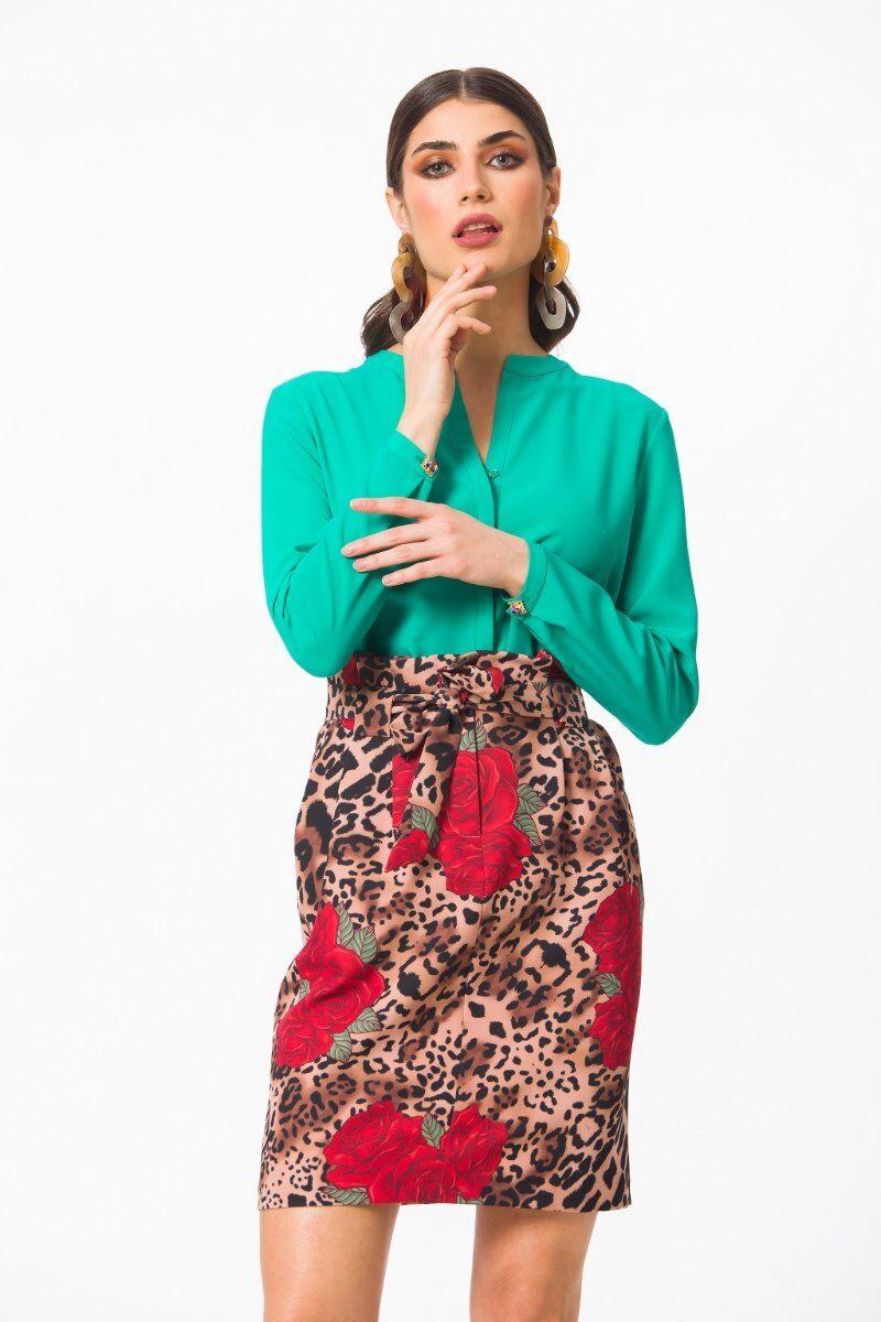 Camasa eleganta PREMIUM Smarald cu guler tunica si mansete DP003V