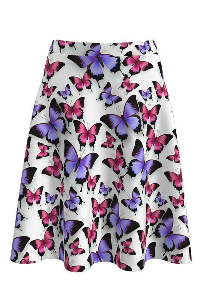 Fustă cloș imprimată digital Butterflies A817-I8