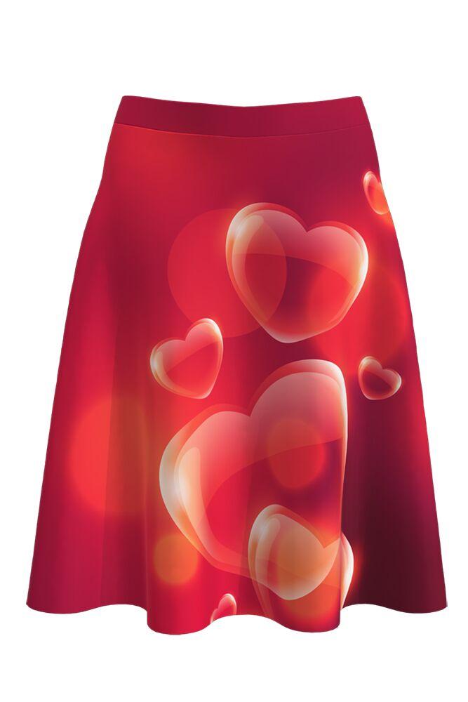 Fustă cloș imprimată digital Red Love A817-I12