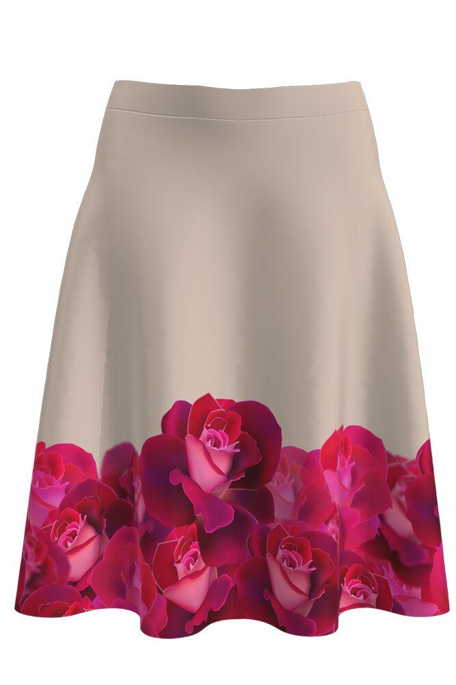 Fustă cloș imprimată digital Roses A817-I15